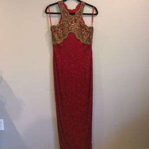 Black Tie Oleg Cassini Sz 8 Sparkle Red Dress